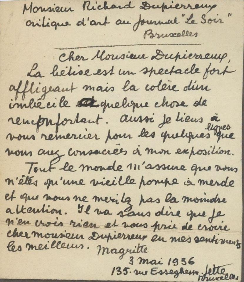 Magritte - lettre - un critique