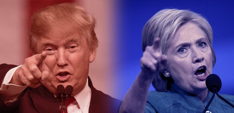 Montage pano Trump Clinton